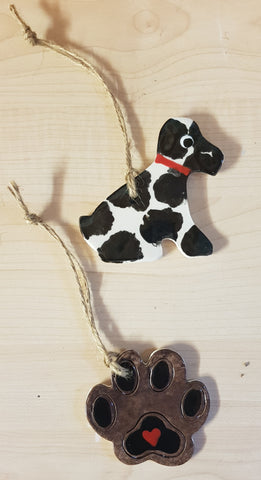 Set of Animal - Dog Keepsake Ceramics -Black & White