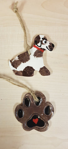 Animal - Dog  Keepsake Ceramics - Brown & White
