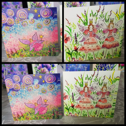 Set of 4 fairy greetings cards