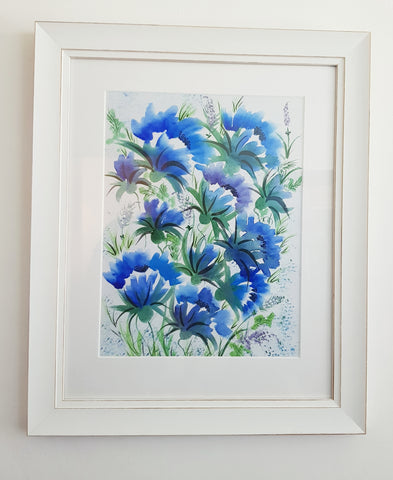 Art- Watercolour-'Blue Poppies' For Sale