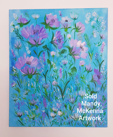 1.Sold-Acrylic'Floral Turquoise '