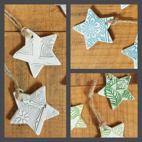 Set of 12 Star Christmas Ceramic Decorations & Gift Tags