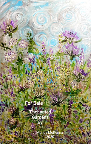 For Sale- Acrylic Floral Painting - Enchanted Garden by Mandy McKenna