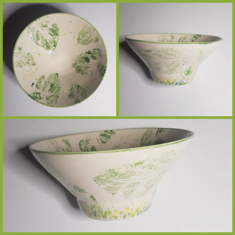 Pottery Leaf Print Bowl