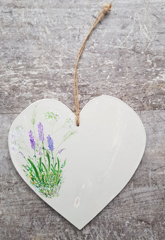 Lavender Design Heart -Wooden