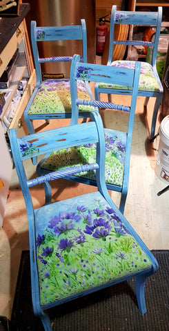 Dinning Room Chairs- Pretty,Floral,Unique Work of  Art by Mandy McKenna - Upcycled Furniture