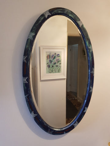 Oval Star Design Vintage Mirror  by Mandy McKenna - Upcycled Furniture