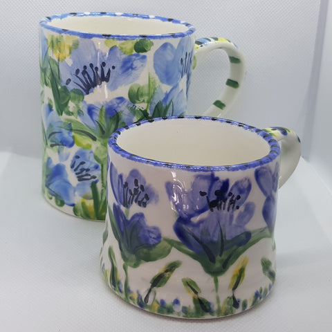 Floral Blue Small Size Handpainted Mug