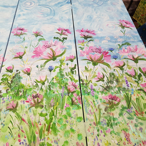 Floral Four Panel Dressing Screen - Cornwall Countryside by Mandy McKenna