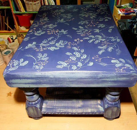 Coffee Table -Blue and Turquoise Folk Art Style by Mandy McKenna