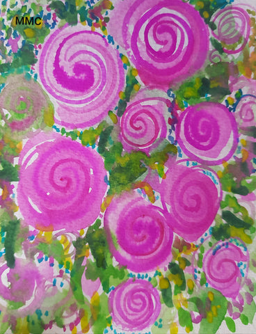 Card - Floral Swirly Garden