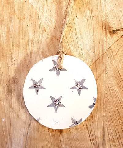 Christmas Silver/Grey Star Bauble
