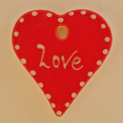 Christmas Small Ceramic Heart  red with white dotted edge