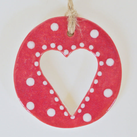 Red ceramic with heart cut out Red/ White dotted
