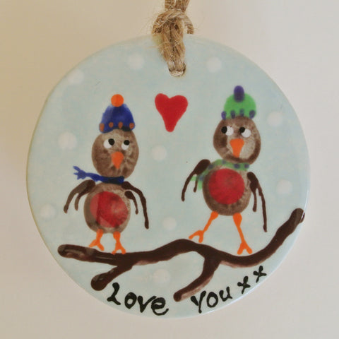Ceramic Winter Love Birds - Mandy Mckenna Ceramic Artist