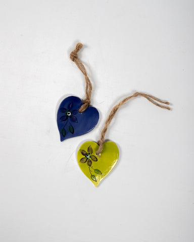 Heart - Blue & Lime Green Floral Set