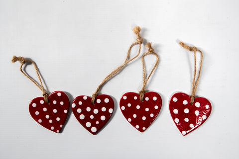Christmas White Dotted Red Heart Decoration Set
