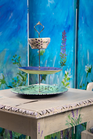 Floral Handpainted Cake Plate - 3 Tier Stand