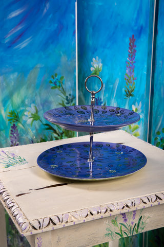 Floral Design Handpainted Cake Plate -  2 Tier Stand