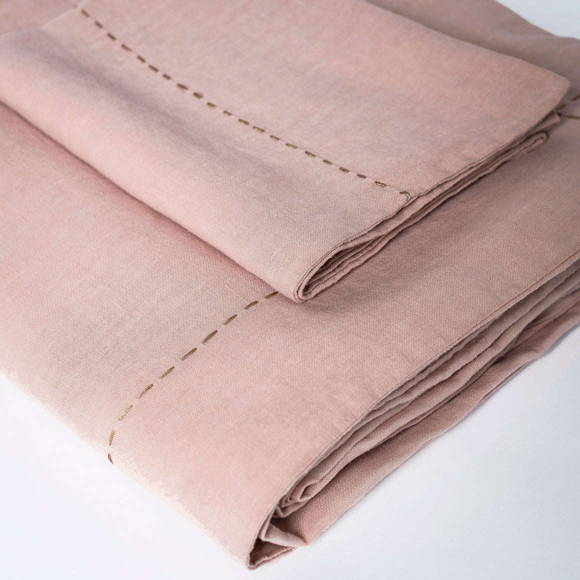STONE WASHED LINEN DUVET SET CLAY PINK