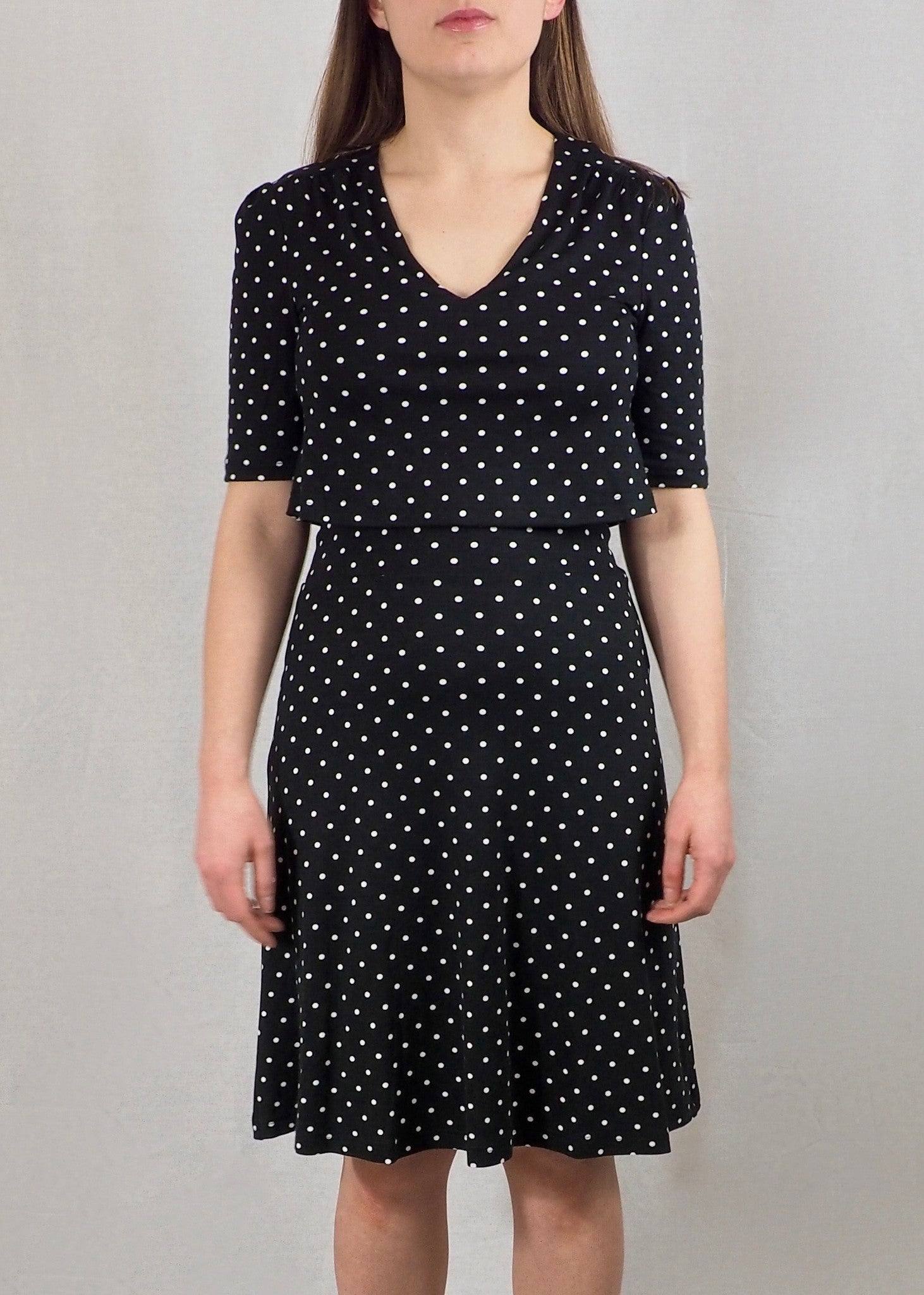 Black Polka Dot Nursing Tea Dress