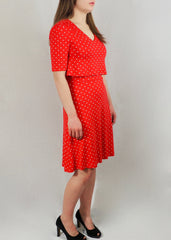 Red Polka Dot Nursing Tea Dress