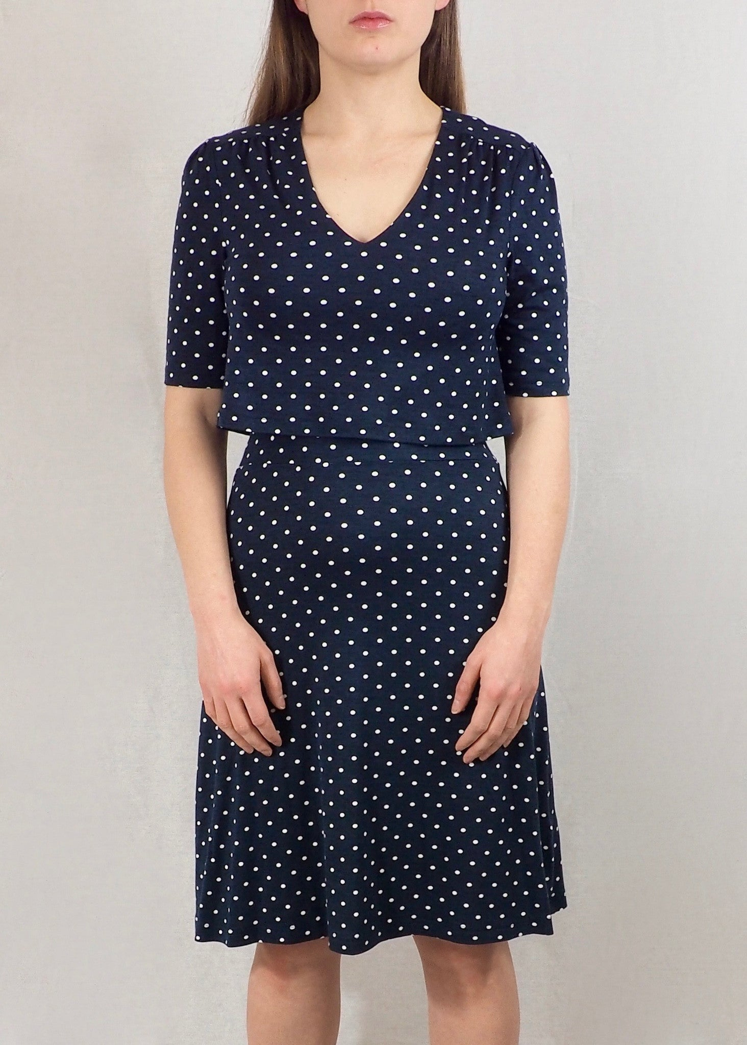 Navy Polka Dot Nursing Tea Dress