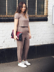 taupe breastfeeding jumpsuit front image