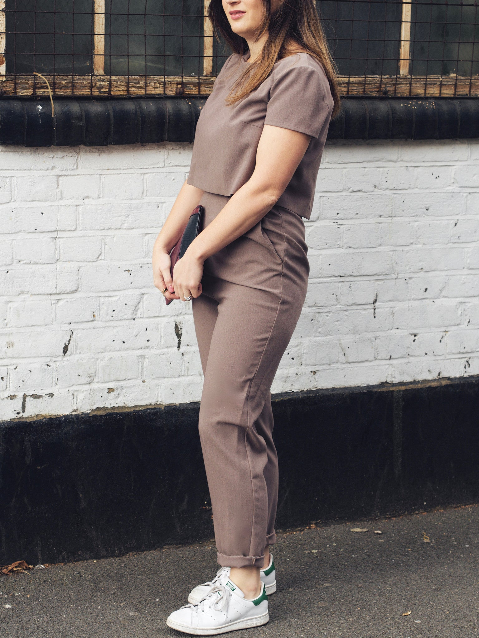 taupe breastfeeding jumpsuit posed image