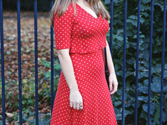 red polka dot t dress side image