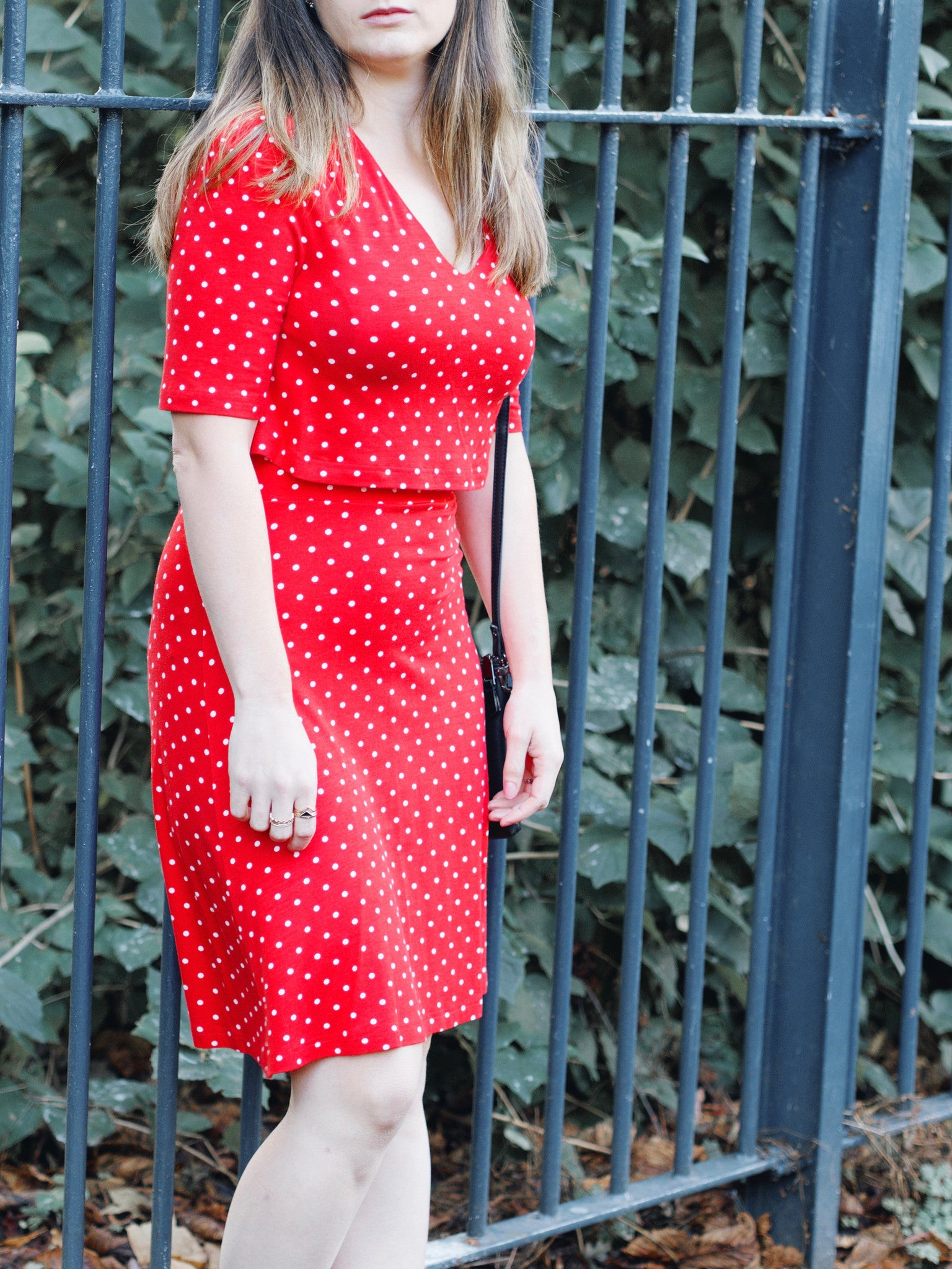 red polka dot t dress front image