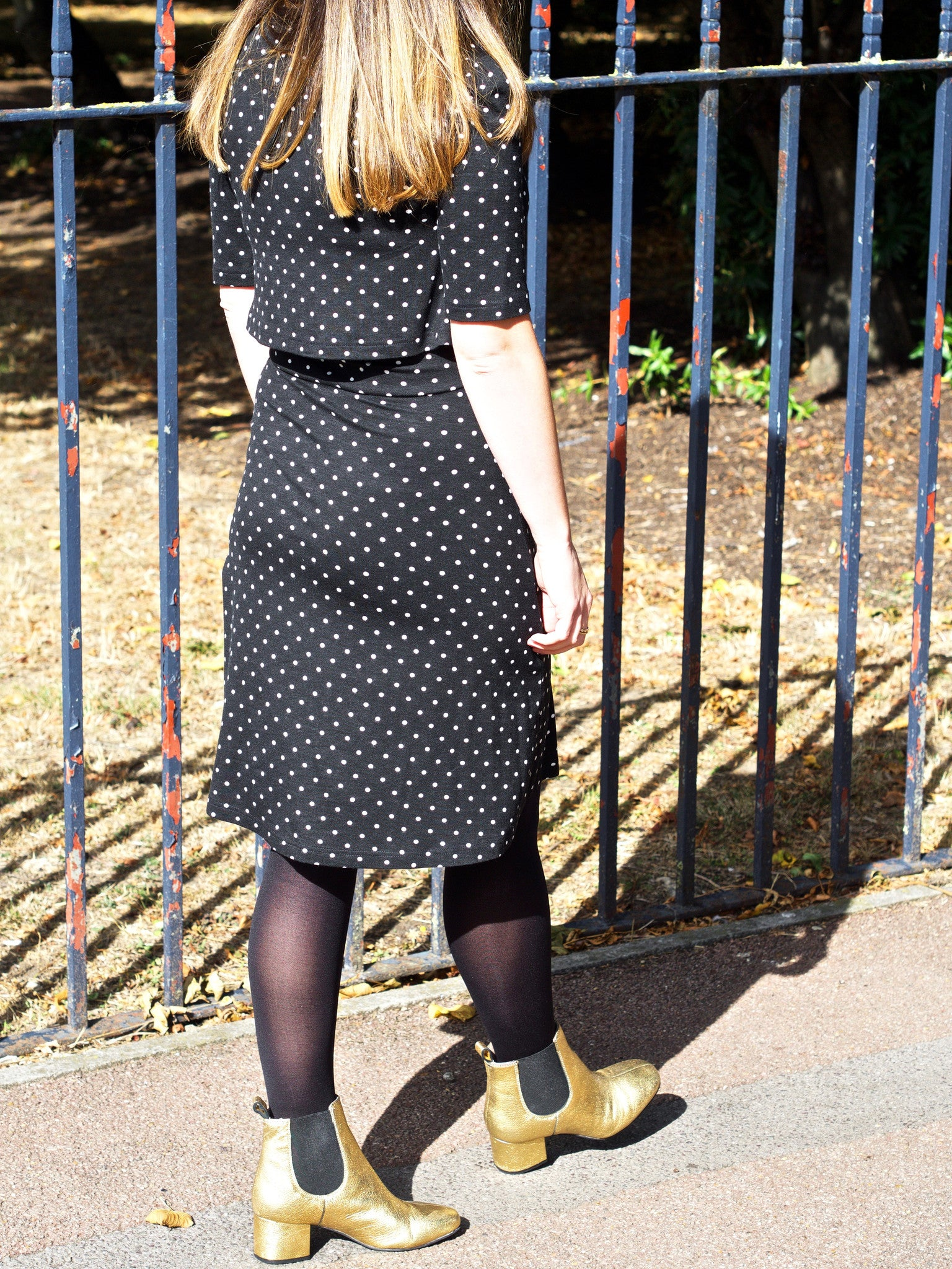 black polka dot t dress back image