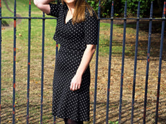 red polka dot t dress posed image