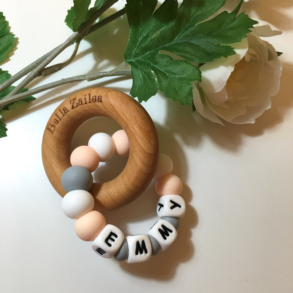 Hey Baby Personalised Teething Ring With Beech Wood Ring