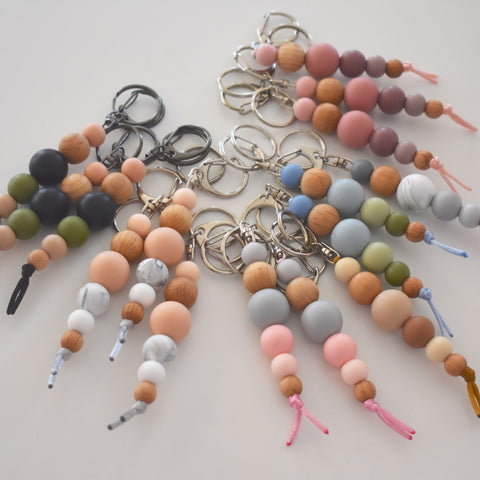 Silicone & Beech Wood Keyring