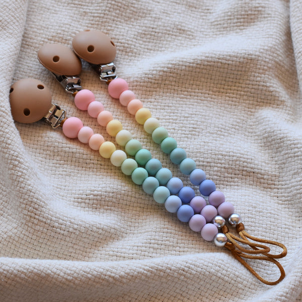 silicone dummy clip safety certified pastel rainbow