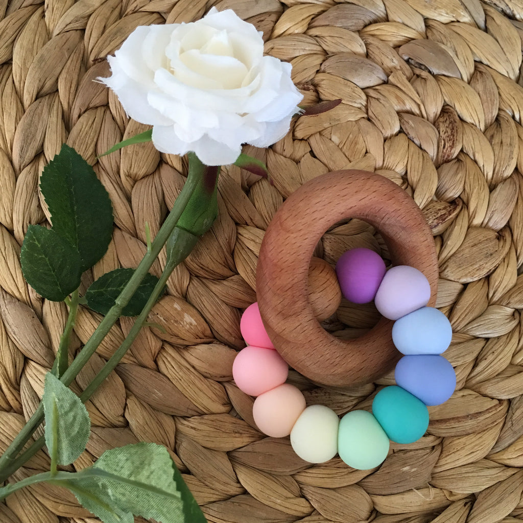 Nova Silicone & Beech Wood Teething Ring - Ombre Colours