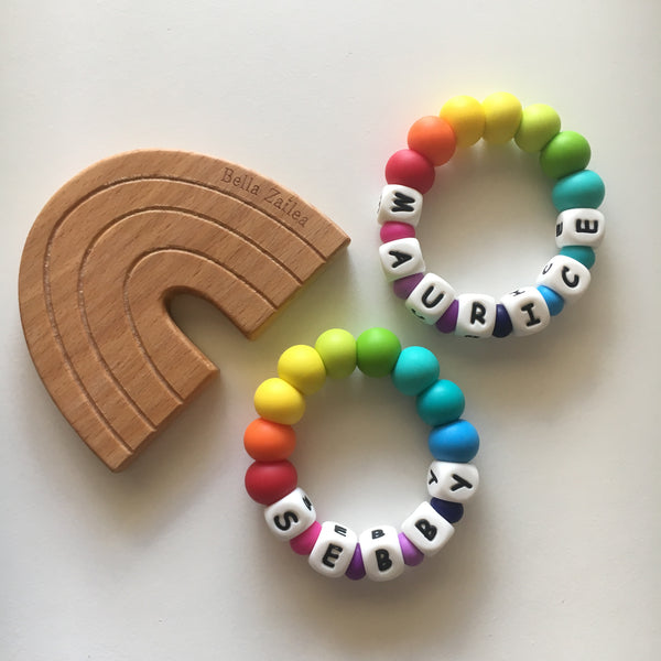 personalised teething toy ring silicone rainbow beads