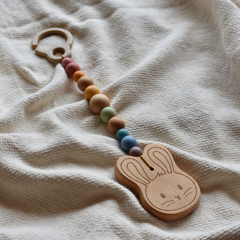 bunny pram toy wooden vintage rainbow silicone beads