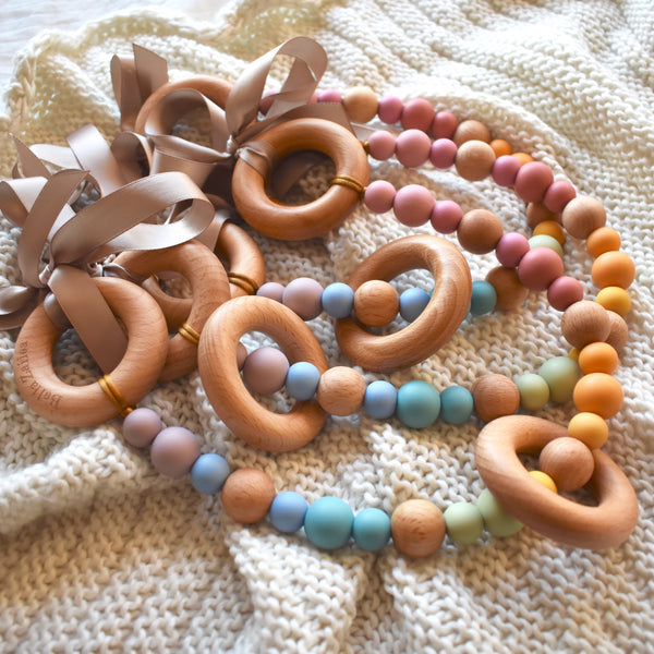 pram garland silicone and beech wood beads safety certified vintage rainbow