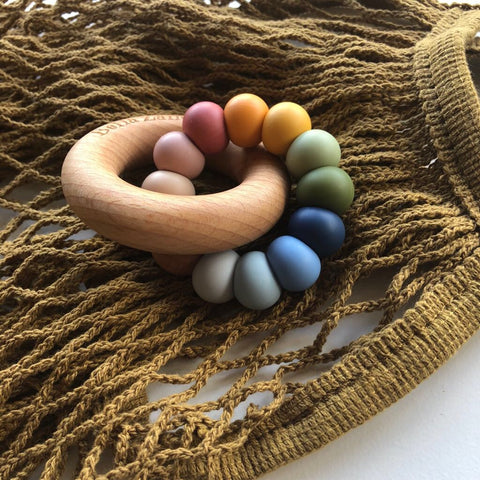Desert Rainbow Nova Silicone & Beech Wood Teething Ring