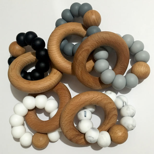 Nova Silicone & Beech Wood Teething Ring - Neutrals