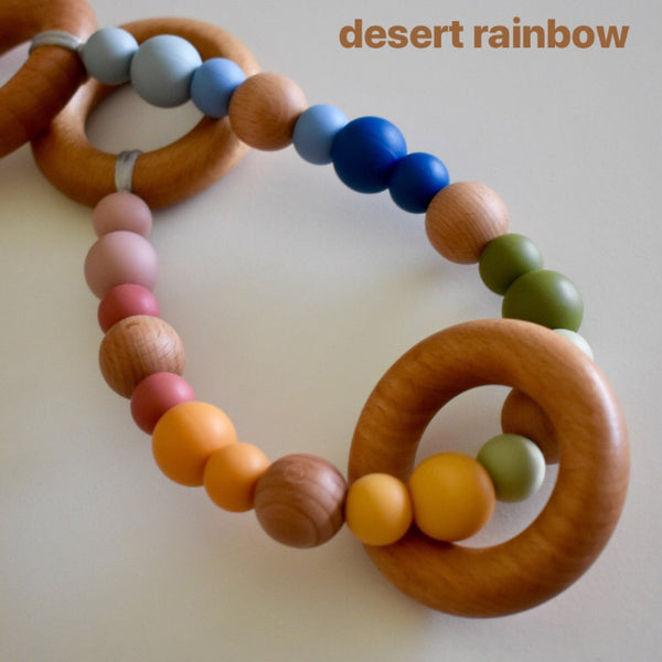 pram garland silicone and beech wood beads safety certified desert rainbow