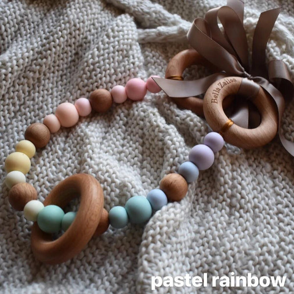 pram garland silicone and beech wood beads safety certified pastel rainbow