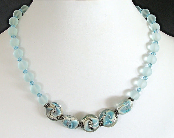 "Edgewater: 17"" Handcrafted Sea Glass Bead Necklace"