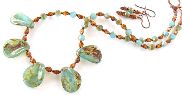 17 inch necklace in aqua and brown