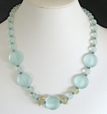 "Shoreline: 19"" Sea Glass Necklace in Shades of Blue"