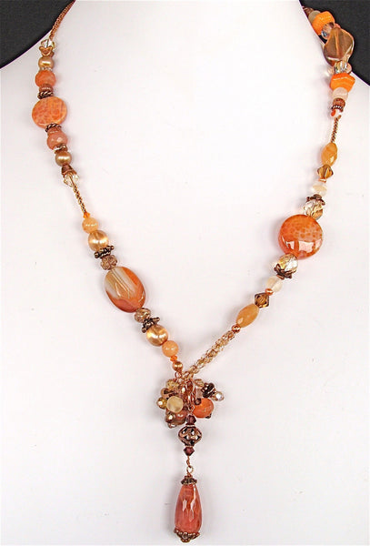Pippa: Lariat Necklace with Orange Gemstones