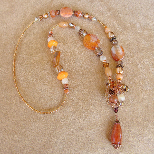 22.5 inch Agate and Carnelian Necklace