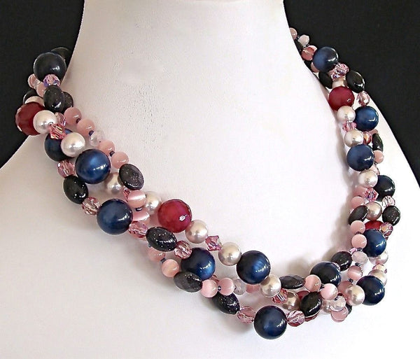 3 strand crystal necklace in navy and pink